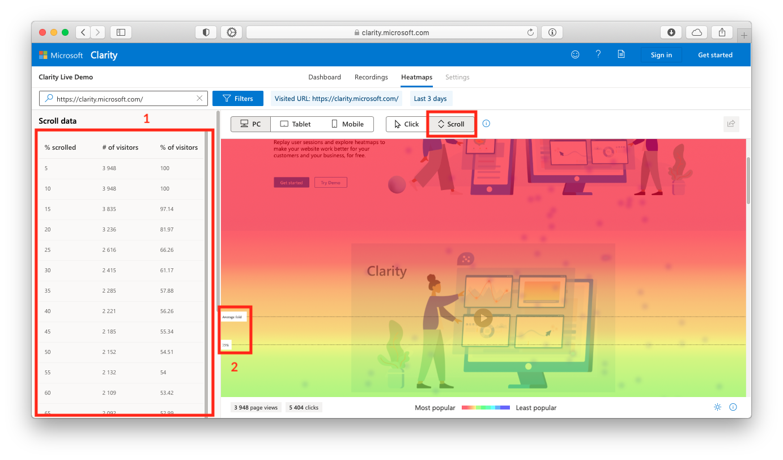 Просмотр тепловых карт скролла в Microsoft Clarity