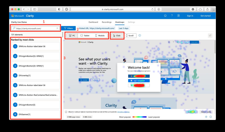 Просмотр тепловых карт сайта или лендинга в Microsoft Clarity