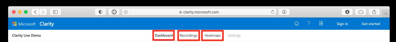 Меню Microsoft Clarity