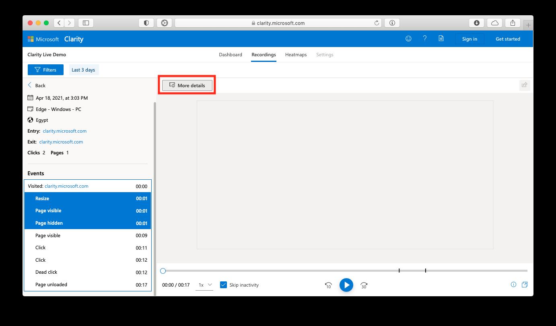 Текстовое описание активности пользователей в Microsoft Clarity