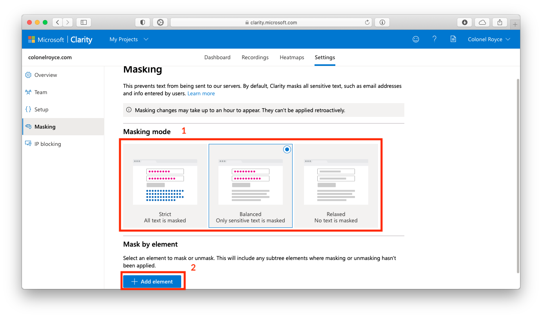 Скрытие чувствительных данных в Microsoft Clarity