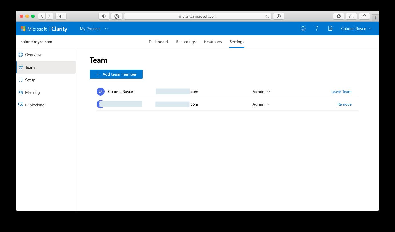Добавление участников в команду Microsoft Clarity